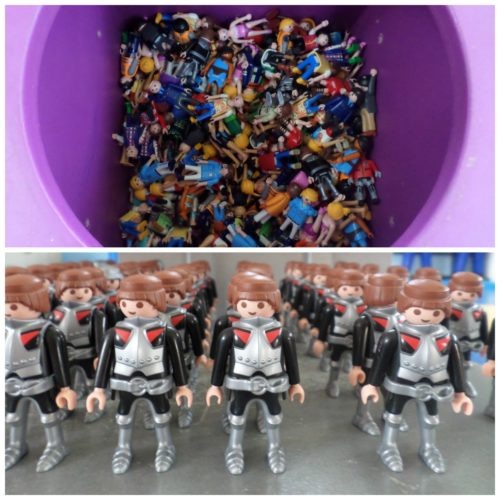 Jack lined up figures at PlayMobil Factory Malta