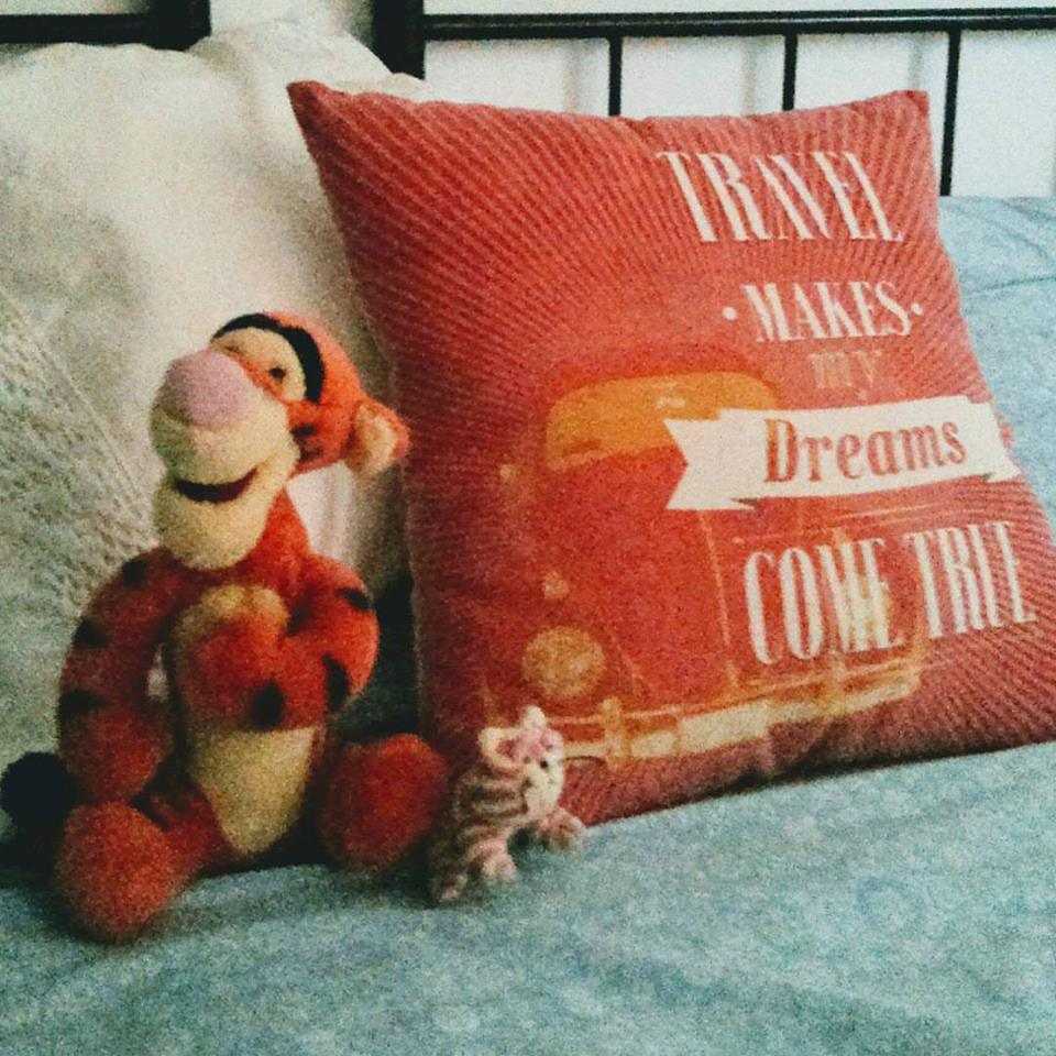 Tigger, travel cushion cover and Bagpuss make me feel at home wherever we go!
