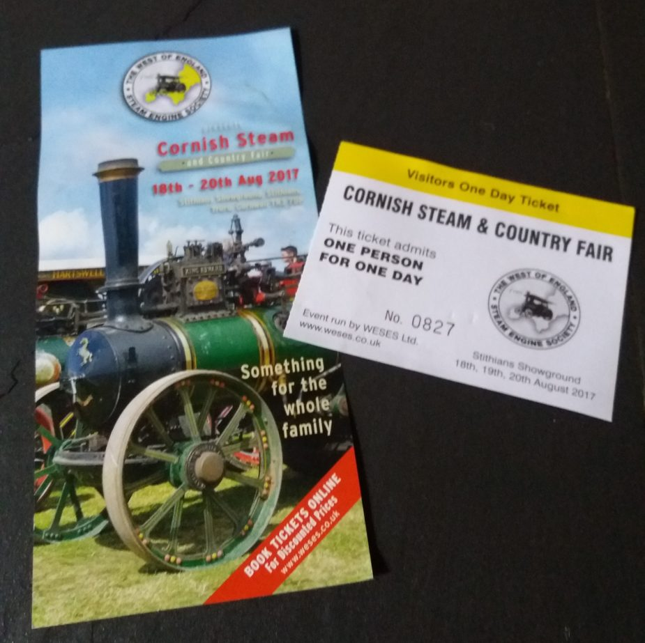 Flyer and Ticket for Cornish Steam and Country Fair St Stithians